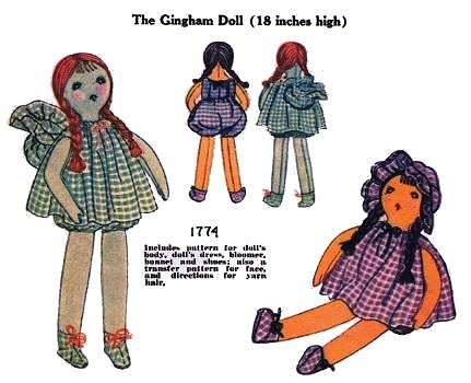 "RARE!! Vintage 1930 Gingham Cloth Doll Pattern ~ 18/"" tall"