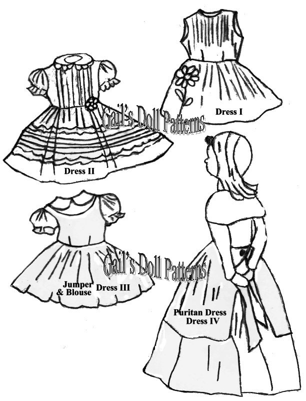 dolls 9 60s Clothing circa early 1960 s instructions and patterns for two dresses a jumper and a puritan dress pattern 609