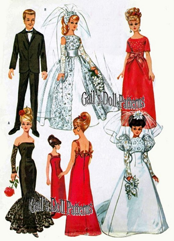 Barbie Wedding Vintage Pattern Features Two Dresses Three Ball Gowns